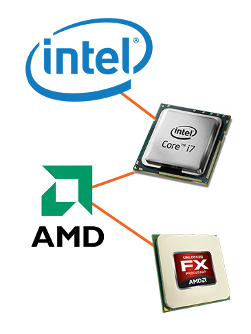 Stationære computere med Intel i7, Intel i5, Intel i3 processorer