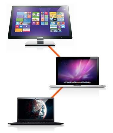 Brugte bærbare Mac og Lenovo maskiner